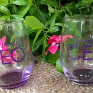 CEO Stemless Wine Glasses (Set of Two 9 oz.)